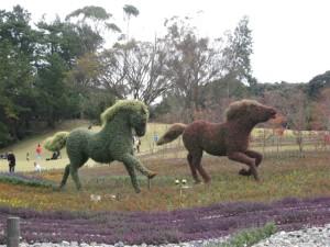 草原を疾走する馬