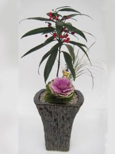 お正月の寄せ植え「和風モダン」