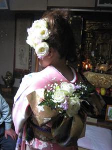 成人式 前撮り生花髪飾り