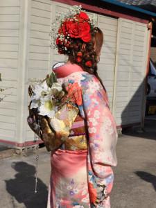 成人式 生花髪飾り
