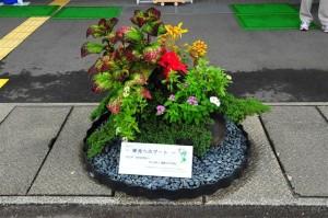 国体ホッケー競技リハーサル大会立体花飾り(110914)擬岩を使った寄せ植え