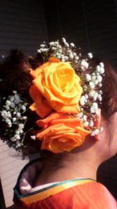 成人式 生花バラの髪飾り