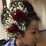 成人式生花髪飾り
