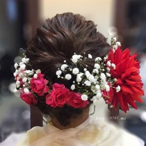 成人式の生花髪飾り真っ赤な大きなダリア