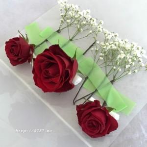 【卒業式の髪飾り】真紅の薔薇発送